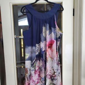 Ted baker navy floral dress size 5
